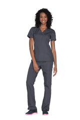 Pewter - Cherokee Workwear Originals Mock Wrap Top