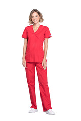 Red - Cherokee Workwear Originals Mock Wrap Top