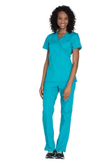 Teal Blue - Cherokee Workwear Originals Mock Wrap Top