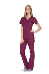 Wine - Cherokee Workwear Originals Mock Wrap Top