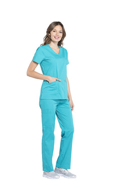 Teal Blue - Cherokee Workwear Professionals Mock Wrap Top