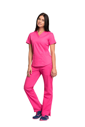 Electric Pink - Cherokee Workwear Professionals V-Neck Top