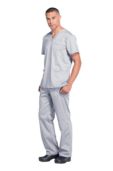 Grey - Cherokee Workwear Revolution Men's V-Neck Top