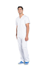 White - Cherokee Workwear Revolution Men's V-Neck Top