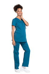 Caribbean Blue – Cherokee Workwear Professionals Maternity Mock Wrap Top