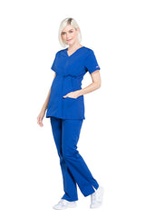 Galaxy Blue – Cherokee Workwear Professionals Maternity Mock Wrap Top