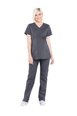 Pewter – Cherokee Workwear Professionals Maternity Mock Wrap Top