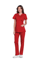 Red – Cherokee Workwear Professionals Maternity Mock Wrap Top