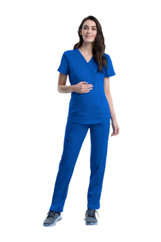 Royal - Cherokee Workwear Revolution Maternity Mock Wrap Top