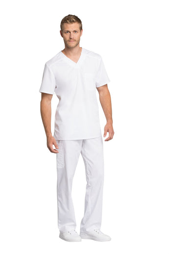 White - Cherokee Workwear Revolution Tech Men's V-Neck Top