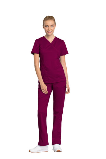 Wine - Cherokee Workwear Revolution Tech Mock Wrap Top