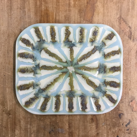 Teal Small Rectangle Plate - TheMississippiGiftCompany.com
