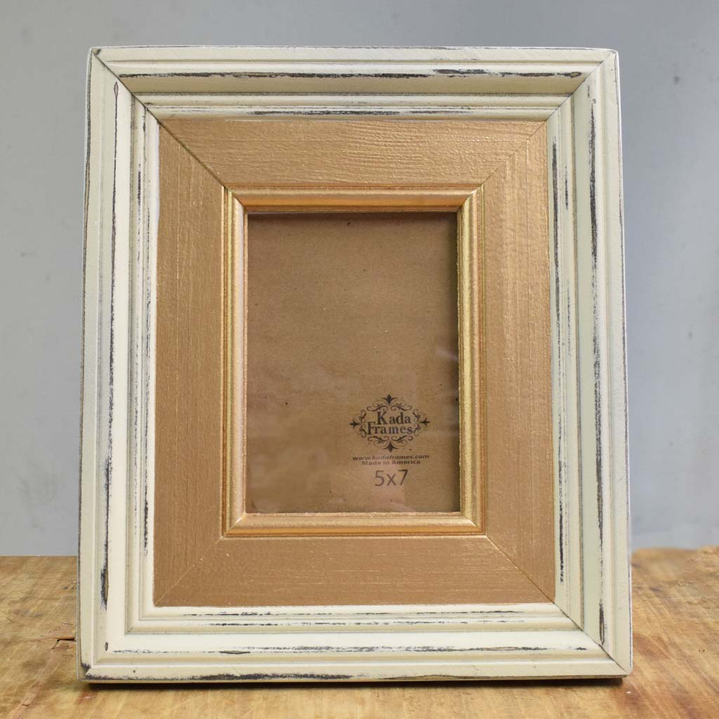 5x7 Cream with Gold Wooden Frame - TheMississippiGiftCompany.com