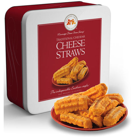 Cheddar Cheese Straws Tin 10 oz. - TheMississippiGiftCompany.com