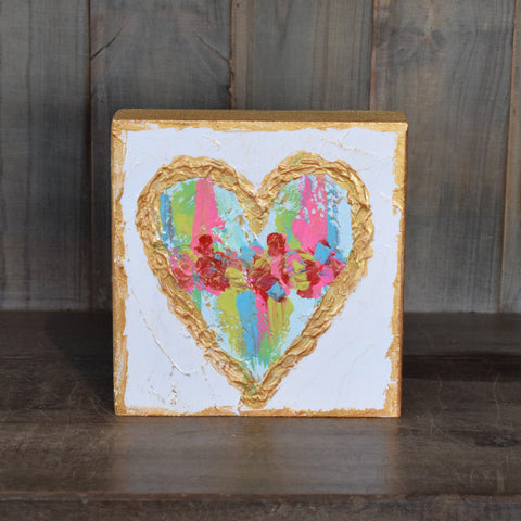 Heart 6x6 Wooden Block Multicolored