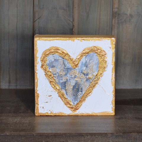 Heart 6x6 Wooden Block Neutral Metallic