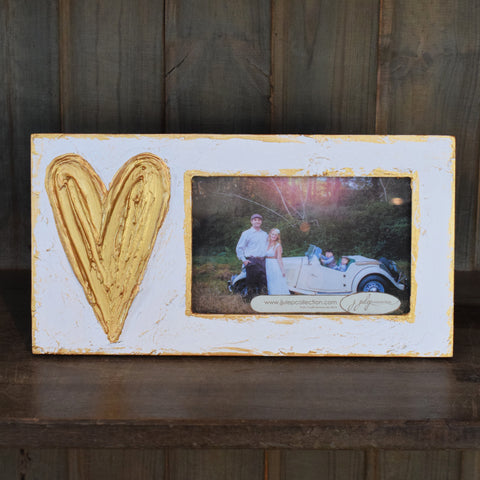 White Frame with Gold Heart