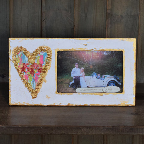 White Frame with Multicolored Heart