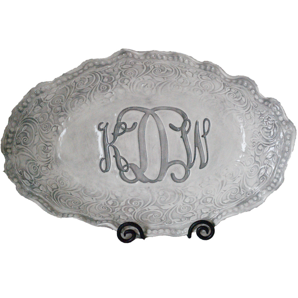 Large Oval Monogram Platter