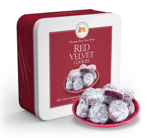 Red Velvet Cookies 10 oz tin - TheMississippiGiftCompany.com