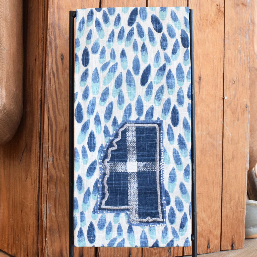 Blue Petals with Plaid Mississippi Towel