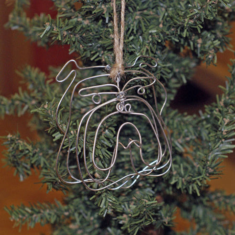Bulldog Head Wire Ornament - TheMississippiGiftCompany.com