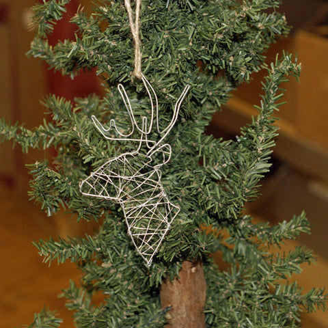 Wire Deer Ornament Silver - TheMississippiGiftCompany.com