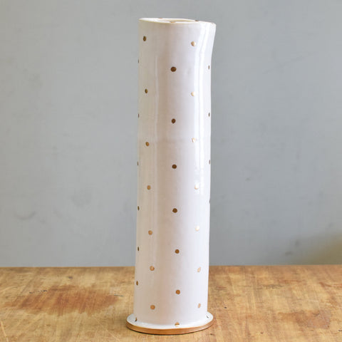 "Gold and White 12"" Vase - TheMississippiGiftCompany.com"