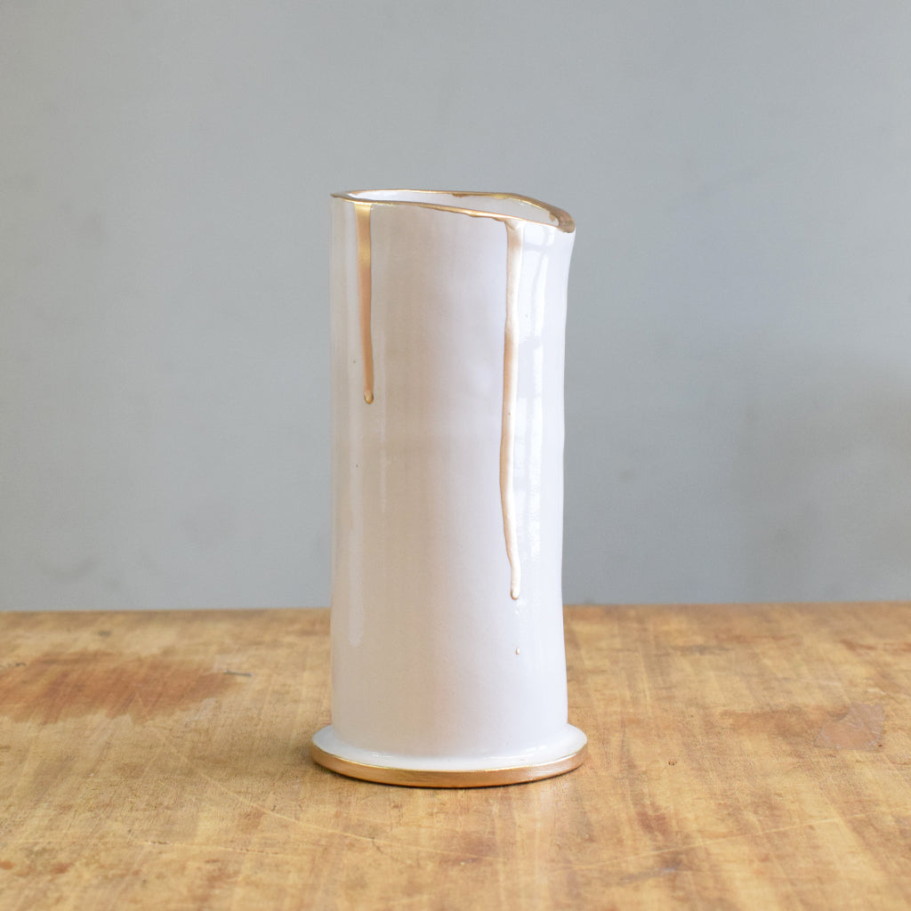 "Gold and White 6"" Vase - TheMississippiGiftCompany.com"