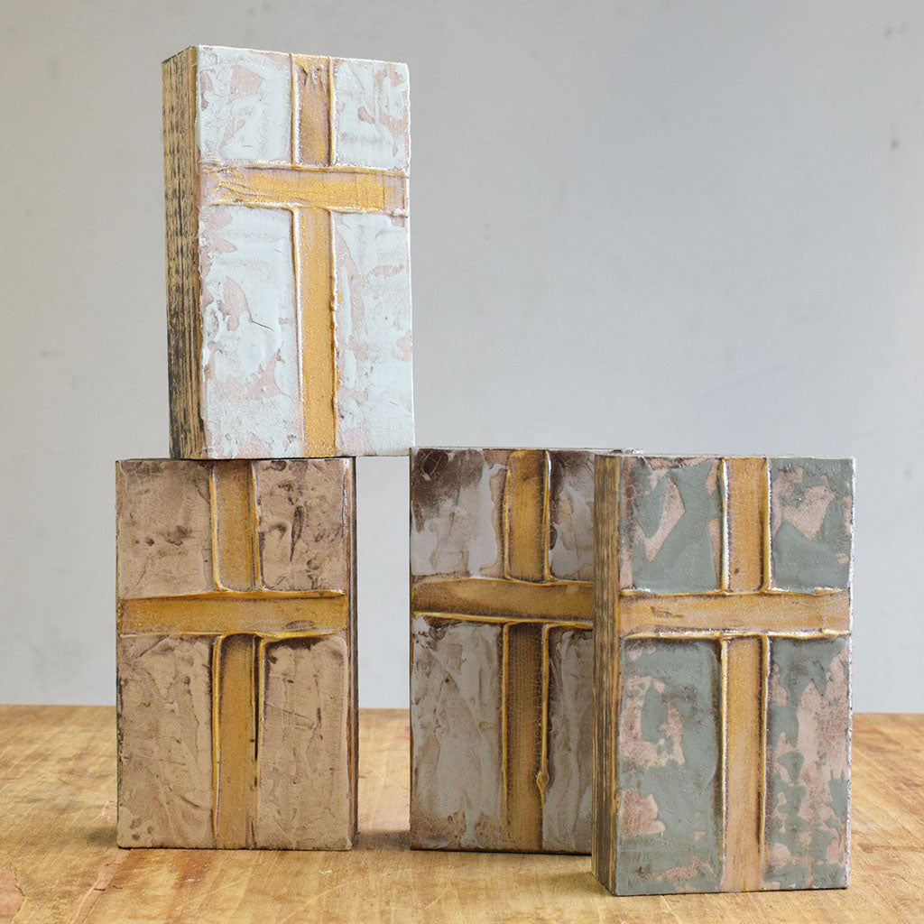 Wooden Block 4x6-Cross - TheMississippiGiftCompany.com