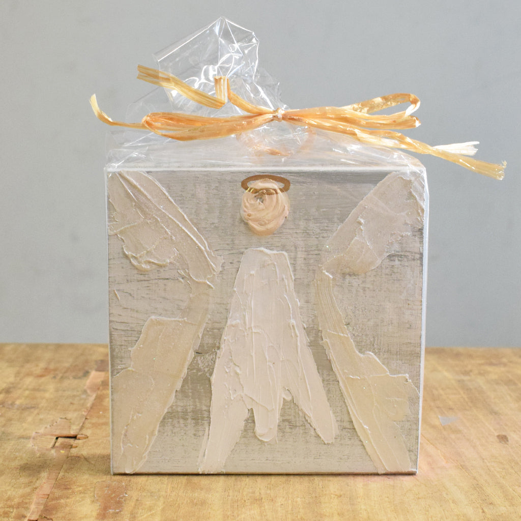 Angel Wooden Block 5x5 -White