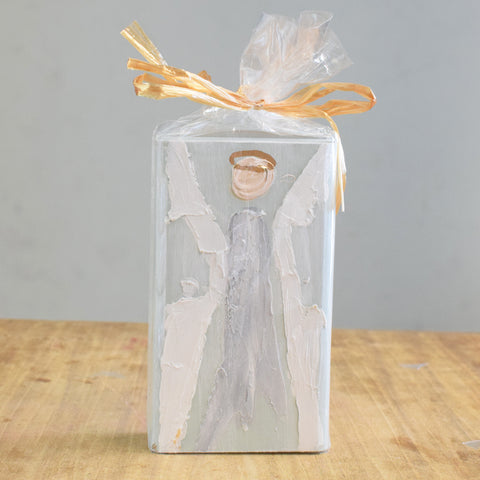 Angel Wooden Block 4x6 -Blue