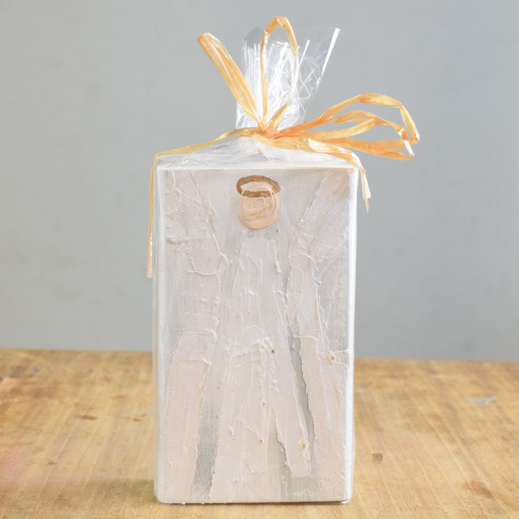 Angel Wooden Block 4x6 -White