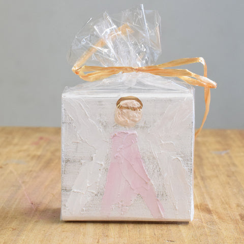 Angel Wooden Block-Pink