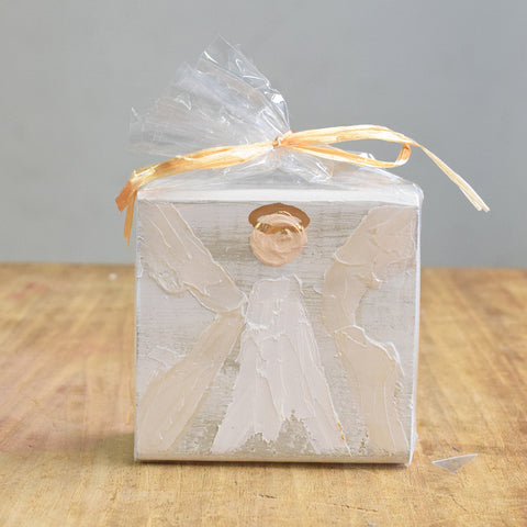 Angel Wooden Block-White