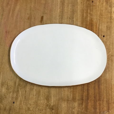 Gold and White Small Oval Platter - TheMississippiGiftCompany.com