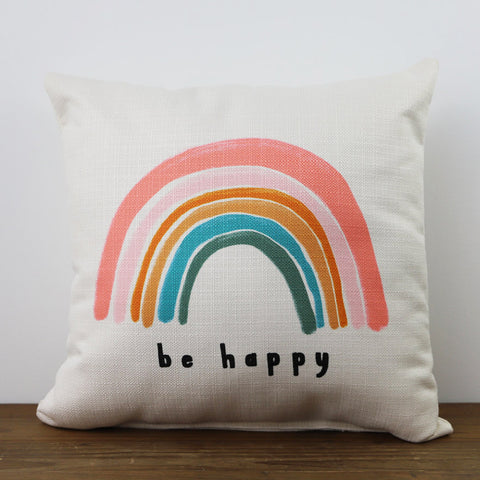 Be Happy Rainbow Square Pillow - TheMississippiGiftCompany.com