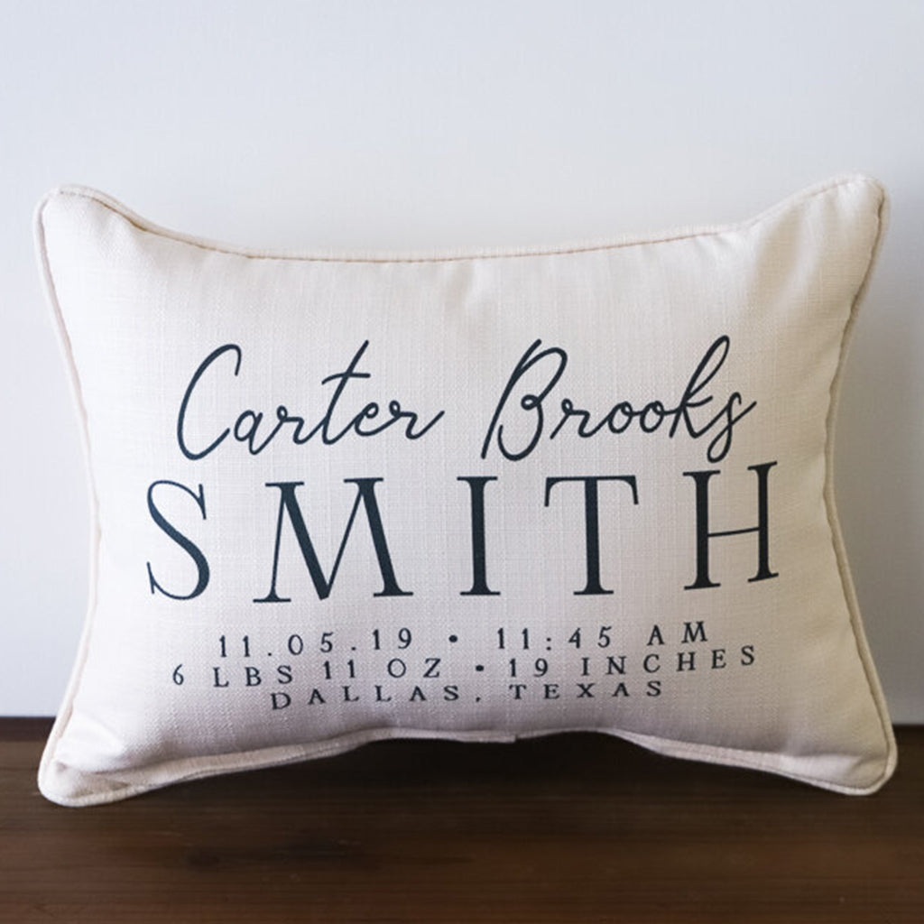 Birth Annoucement Rectangle Pillow - TheMississippiGiftCompany.com