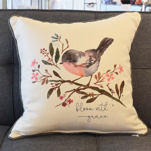 Bloom with Grace Square Pillow - TheMississippiGiftCompany.com