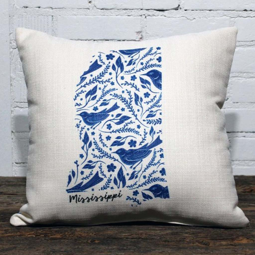 Blue Bird State Pattern Square Pillow with Backing - TheMississippiGiftCompany.com