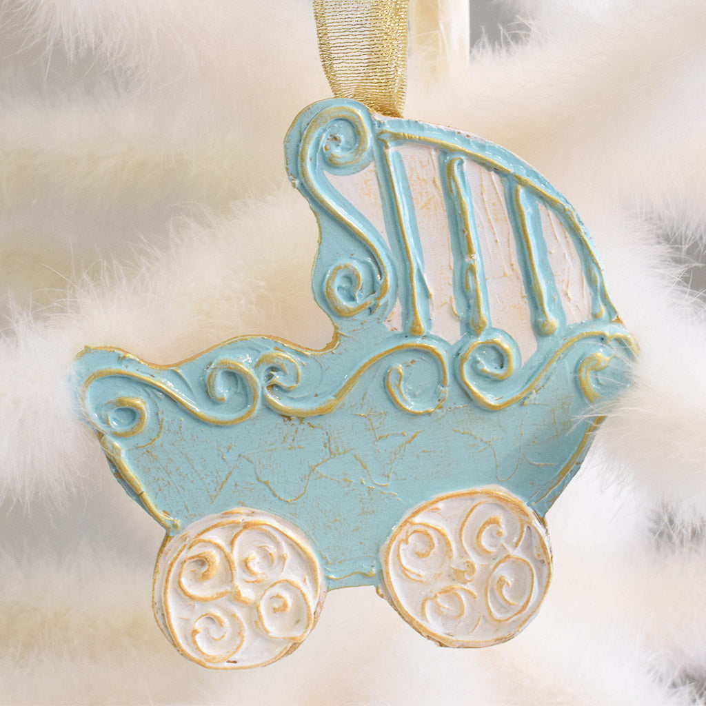 Wooden Baby Carriage Ornament-Blue