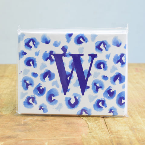 Initial Blue Cheetah Notecard Set