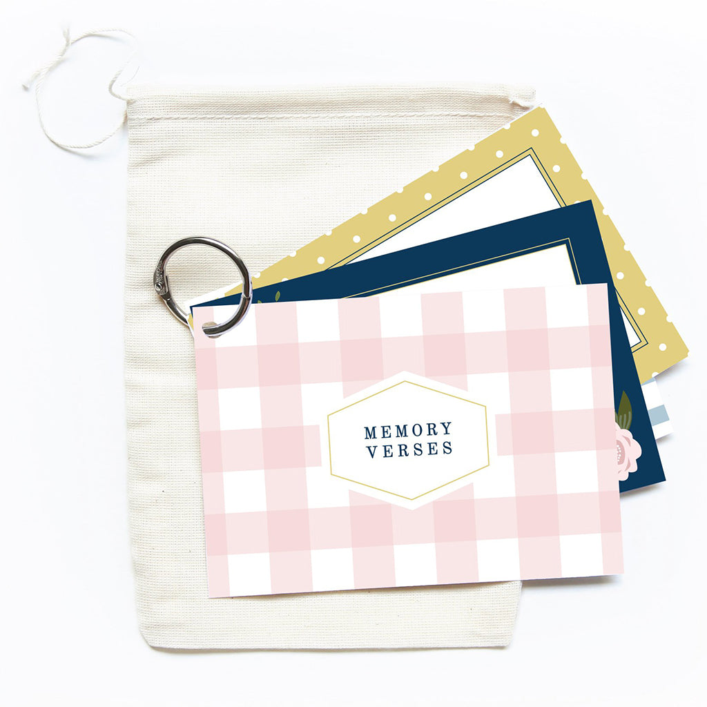 Blush Gingham Memory Verse Cards - TheMississippiGiftCompany.com