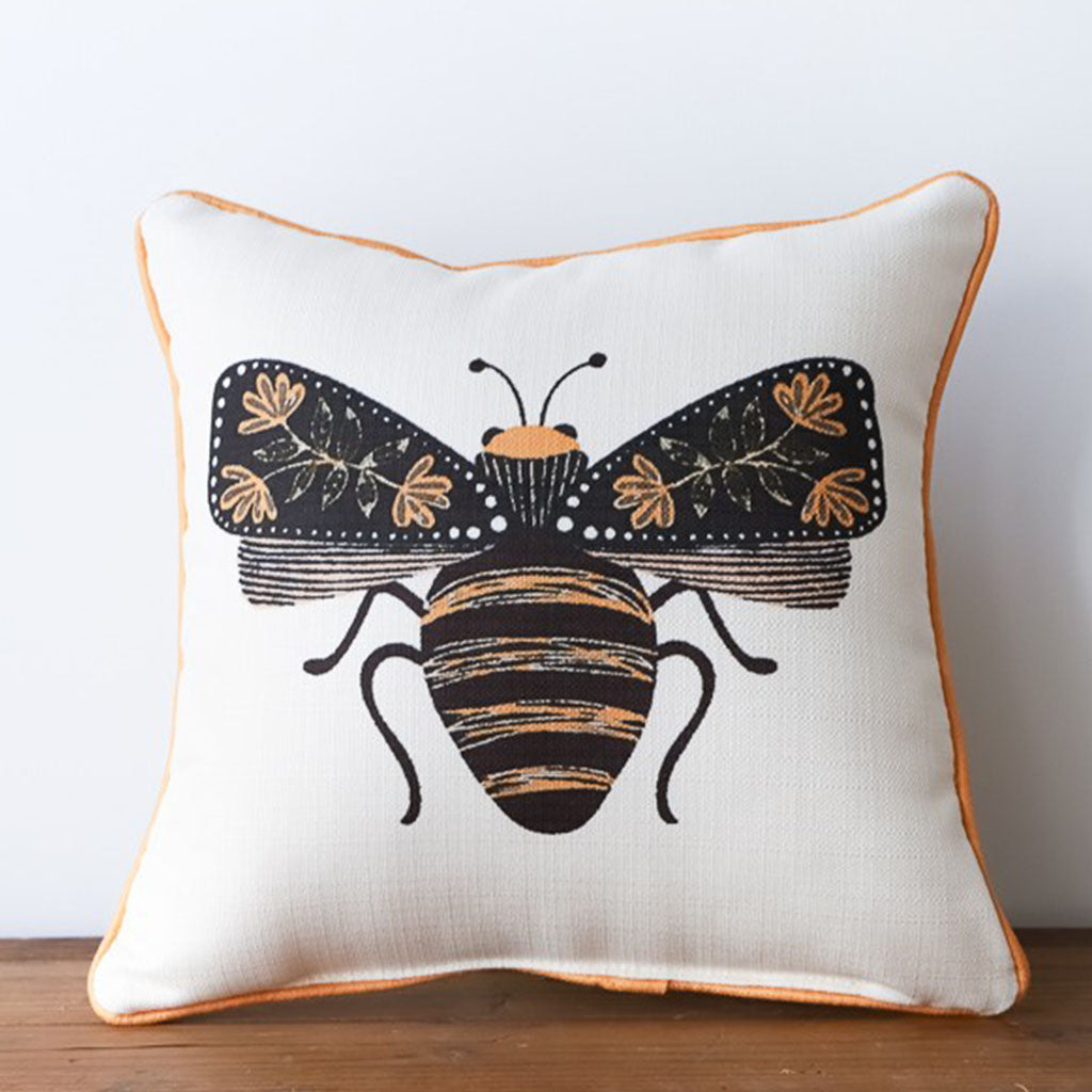 Botanical Bee Square Pillow