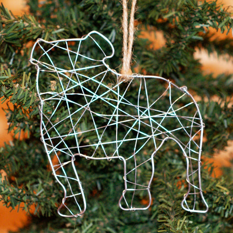 Bulldog Silhouette Wire Ornament - TheMississippiGiftCompany.com