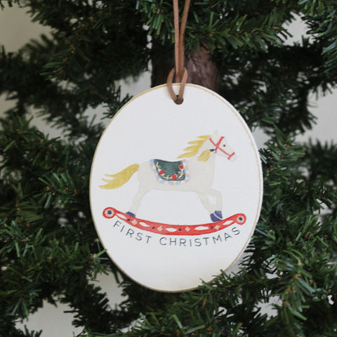 Christmas Rockinghorse Oval Ornament