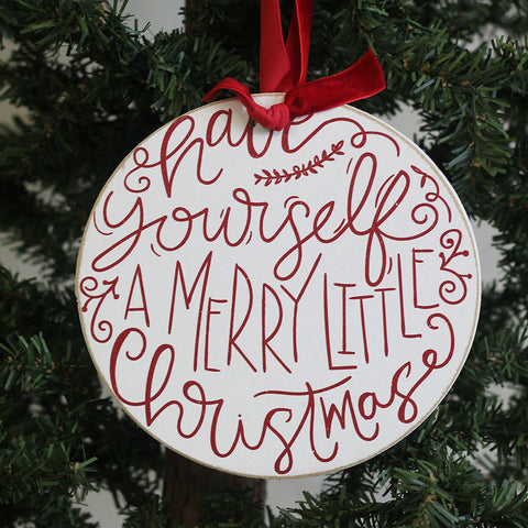 Merry Little Christmas Round Ornament