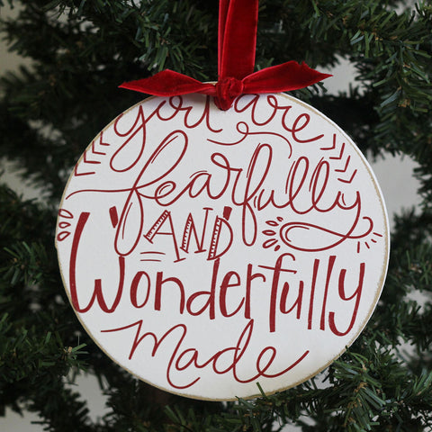 Wonderfully Made Round Ornament