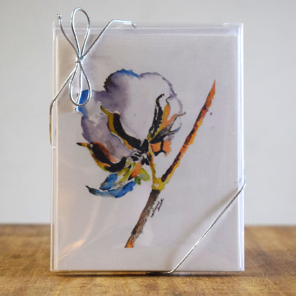 Cotton Boll Hand Painted Note Cards - TheMississippiGiftCompany.com