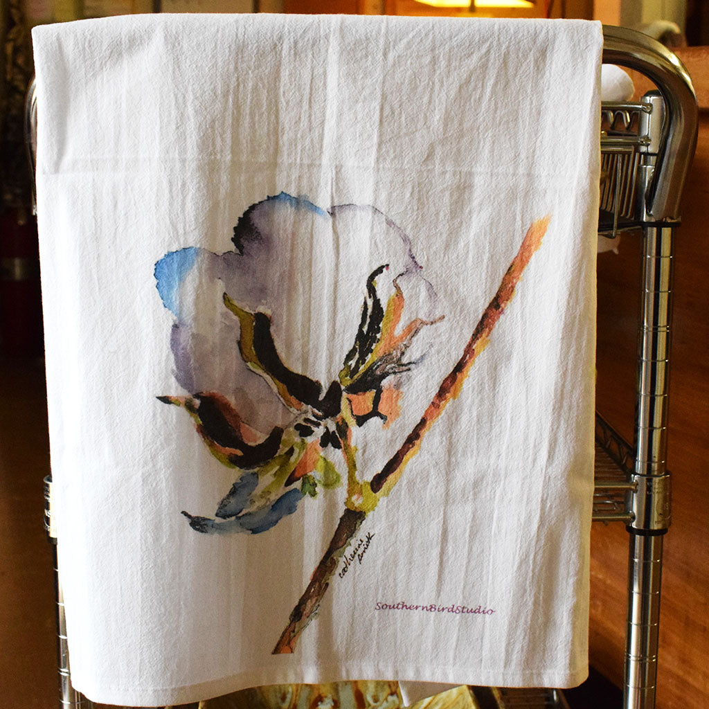 Cotton Boll Flour Sack Kitchen Towel - TheMississippiGiftCompany.com